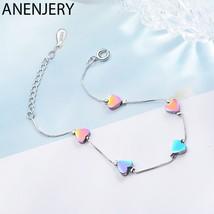 Anenjery Sweet Coloful Love Heart 925 Sterling Silver Bracelet For Women S-B213 - $14.52