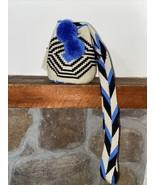 Authentic 100% Wayuu Mochila Colombian Bag mini Size siena blue pom poms - $34.50