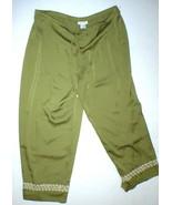 New NWT Designer Natori Crop Green Pants Silky Womens L Lounge Satin Emb... - $128.70