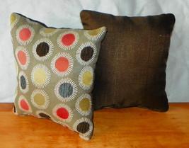 Pair of Brown Tan Dot Print Throw Pillows  10 x 10 - $29.95