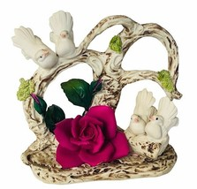 Capodimonte porcelain Bird flowers Savastano Gricci Italy figurine Doves Purple  - $346.50
