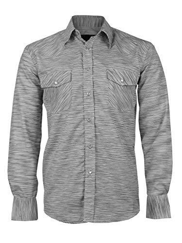LW Men's Western Cowboy Pearl Snap Long Sleeve Rodeo Dress Shirt (Large, Pattern