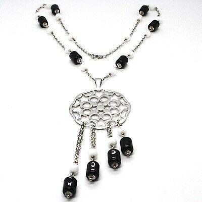 Halskette Silber 925, Onyx Schwarz Röhre, Medaillon Sterne und Kreise Anhänger