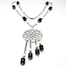 Halskette Silber 925, Onyx Schwarz Röhre, Medaillon Sterne und Kreise Anhänger image 1
