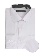 Men's Fashion Fit Long Sleeve Button Down Pocket Pattern White Dress Shirt - L image 1