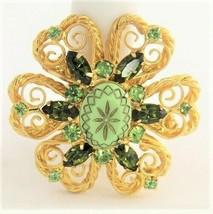 D&E Juliana Verified Green Olivine Rhinestone Molded Glass Metal Scroll Brooch - $65.00