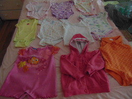 One Piece Snap Crotch 18 Mos 9 Pieces-1 Pink Hooded Jacket For Baby-1 Wh... - $14.49