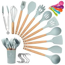 CORAFEI Silicone Cooking Kitchen 11 PCS Acacia Wooden Utensils Tool for ... - €25,05 EUR