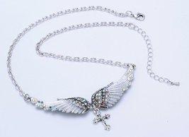 Women's Angel Wing Cross Necklace Earrings Bracelet Set image 8