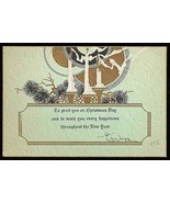 Deco Design Antique Greeting Art Card Embossed Candles Golden Halo 1928 - $14.99