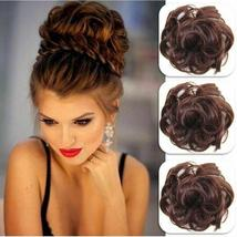 Natural Color Curly Messy Bun Hair Piece Scrunchie Hair Extension image 9
