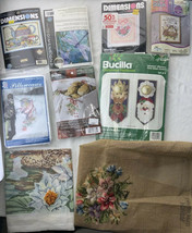 Vintage New And Used Lot of Cross Stitch Needlepoint Sets Xmas & More - $28.04