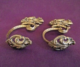 Pair Antique 19th Century French Rococo Bronze Ornate Tie Back Hooks 1013 - $77.79