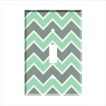 Chevron Mint Green Gray Light Switch Plate Wall Cover - $6.88+