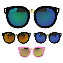 Kids Childern Size Color Mirror Plastic Retro Round Horned Rim Sunglasses - $9.95