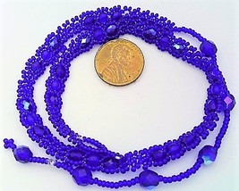 Cobalt Blue Beaded Daisy Chain Necklace - $16.99