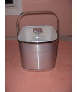 Vintage Culver Brushed Silver Ice Bucket Clear Lid - $49.49