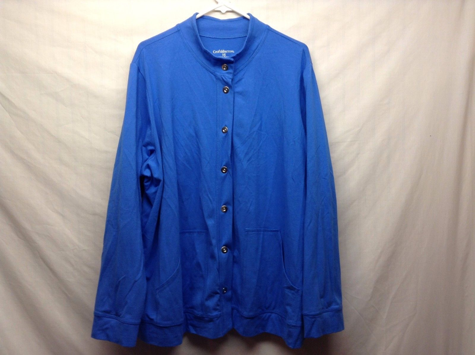 Croft & Barrow Blue Snap Front Long Sleeve Light Jacket Sx 3X