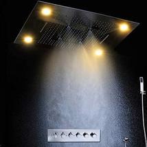 "Cascada Luxury 24""x24"" Rectangle Ceiling Mounted 4 Function LED Rain Sho... - $2,375.95"