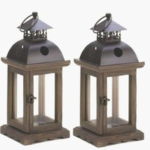 """2 Rustic Wood Lantern Small Candle Holder Wedding Centerpieces 12"""" Tall - $36.48"""
