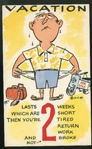 Vacation Comic Humor  Lasts 2 weeks which are 2 short 1959 Postcard - $4.99