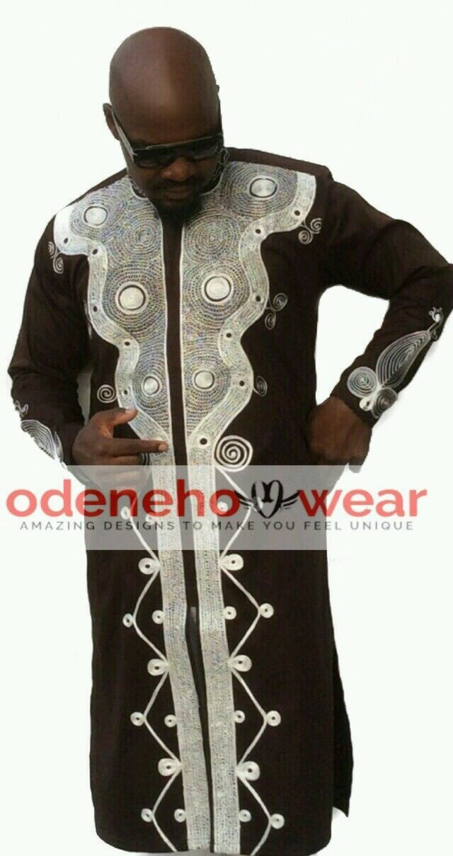 Odeneho Wear Men's Brown Polished Cotton Top/Embroidery Design.African Clothing. - $138.60 - $163.35