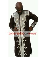 Odeneho Wear Men's Brown Polished Cotton Top/Embroidery Design.African C... - $138.60+