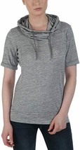Bench Women's Heather Grey Rollreach Short Sleeve Jumper Hooded Shirt NWT
