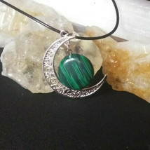 Malachite Necklace with Sliver half moon pendant  Natural Stone Boho Chi... - $14.80