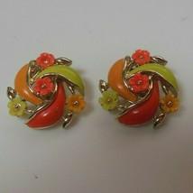 Vintage Signed Lisner Enamel Flower Clip-on Earrings  - $17.81