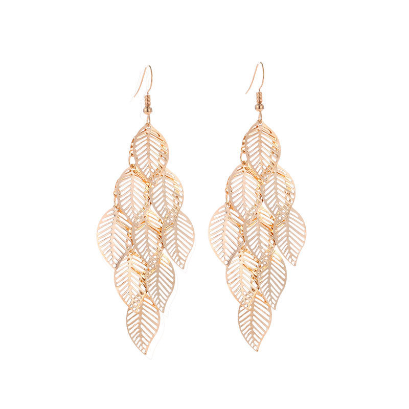 Fashion Unique Leaf Multi layer hollow Drop Earrings For Women Bohemian Long