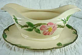 Franciscan Desert Rose Gravy Boat With Attached Underplate USA Small Chi... - $19.37