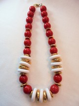 Vintage NAPIER Necklace Red & White Lucite Gold Tone Large Chunky Design... - $19.75