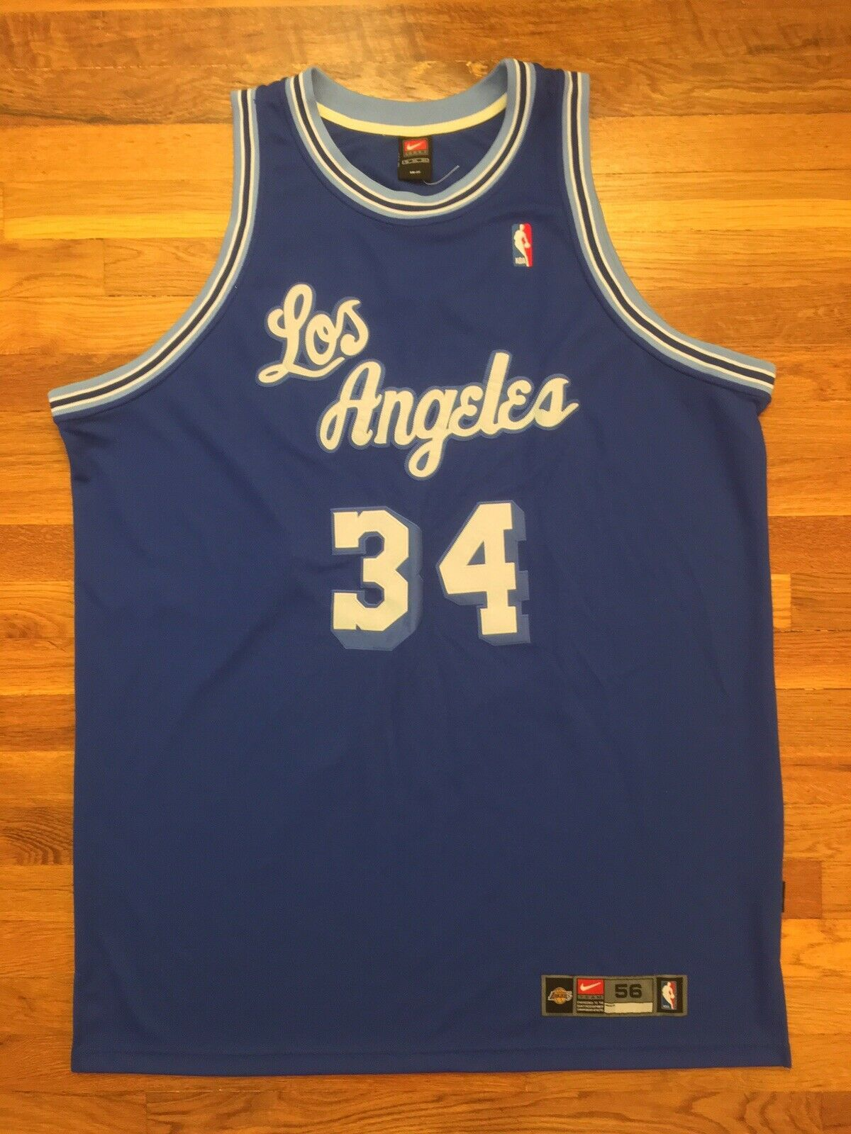 Primary image for Authentic Nike Los Angeles Lakers HWC Shaquille O'Neal Road Away Blue Jersey 56
