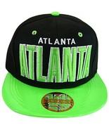 Atlanta Men's Snapback Baseball Cap (Black/Green Textured Bill) - $12.95