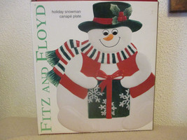 Fitz and Floyd Holiday Snowman Canape Plate-NIB - $26.59