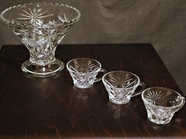 Anchor Hocking (Star of David) small punch bowl and cup set - $110.00