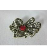 Heidi Daus Collector's Edition Swarovski Crystal Art Deco Ribbon Pin Brooch - $49.49