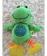 Smart Start Bungee Buddies Baby Green Fleece Frog Yellow Orange Teether Toy - $3.50