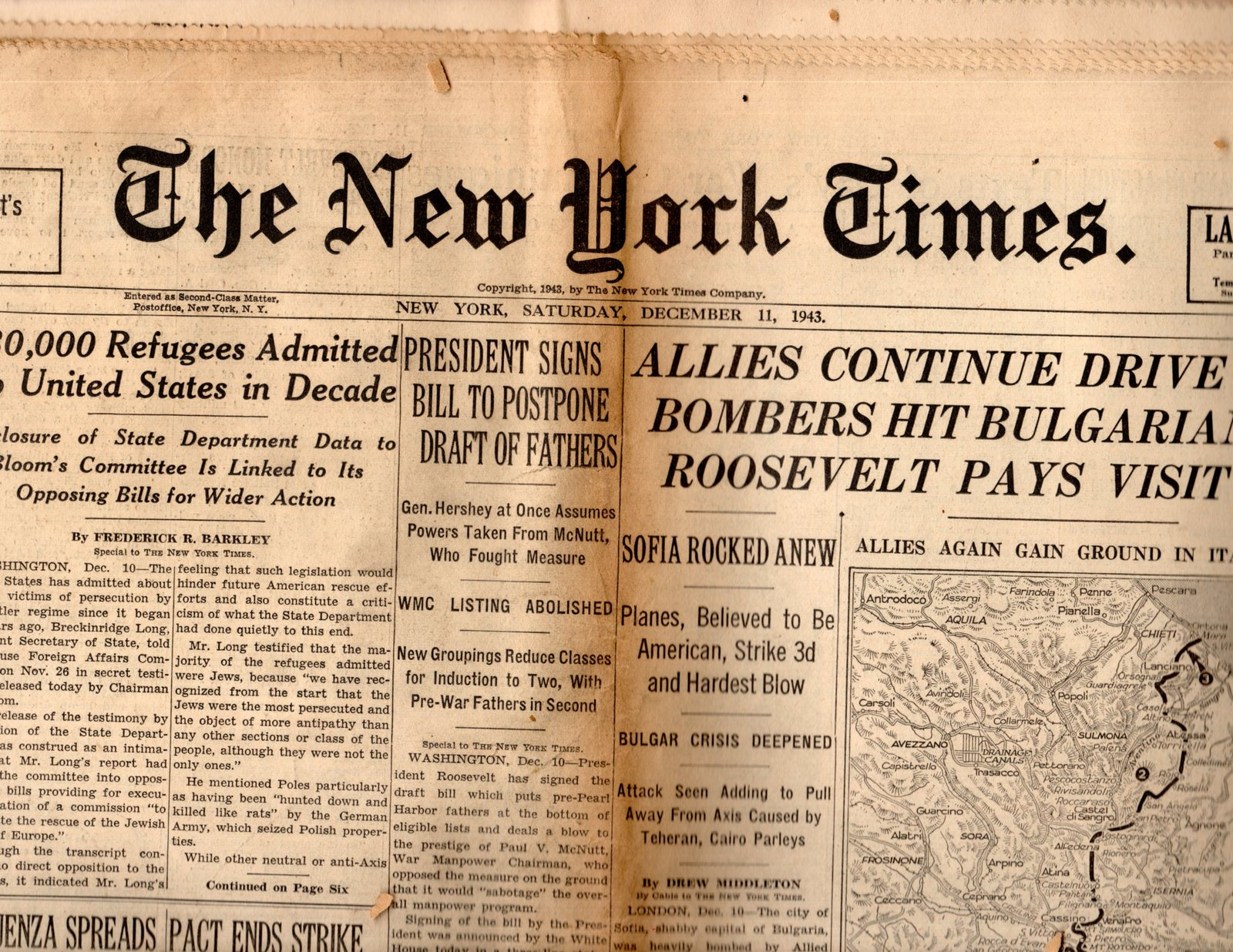 Primary image for The New York Times, Newspaper,Saturday, December 11,1943