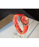 Nice Red Face Watch With Red Genuine Leather Band, New Battery - $10.99