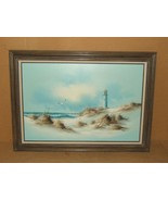 Original Painting Framed 36in x 24in Carson Seascape Lighthouse Oil on C... - $175.75