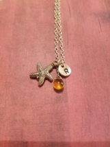Birthstone November Topaz Starfish necklace bir... - $26.00 - $28.00