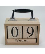 Natural Wood Perpetual Calendar Blocks with Chrome Carrying Handle Desk ... - $24.70