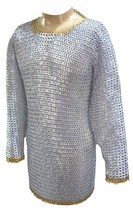 Aluminum chain mail hauberk full flat pin riveted chest 45 abs - $312.94