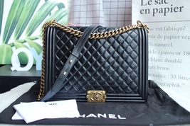 AUTHENTIC CHANEL BLACK QUILTED GLAZED CALFSKIN LARGE BOY FLAP BAG RECEIPT GHW