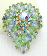 VTG JULIANA D&E Blue Green Rhinestone Large 3D Aurora Borealis Brooch - $222.75