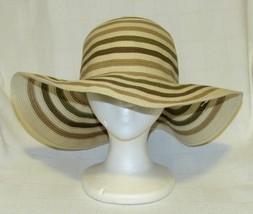 Merona Women's Neutral Stripes Floppy Brim Hat - £10.06 GBP