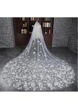 Luxurious Tulle Cathedral Wedding Veil With Lace Appliques - $72.95