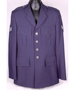 USAF US Air Force Military Service Blue Coat Jacket-Patches-Nice Buttons... - $46.74